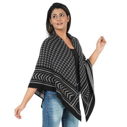 Jacquard Knit Kimono (L: 100m, W: 100cm) - Grey and Black