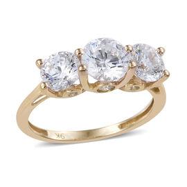 J Francis Made with Swarovski Zirconia 3 Stone Ring in 9K Gold 1.93 Grams