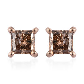 9K Rose Gold SGL Certified Natural Champagne Diamond (I3) Stud Earrings 1.00 Ct.