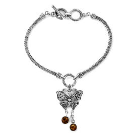 Royal Bali Collection Citrine (Rnd) Butterfly Charm Bracelet (Size 7.5 - 8) in Sterling Silver. Silv