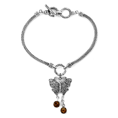 Royal Bali 1.5 Ct Citrine Butterfly Charm Bracelet in Silver 13 Grams 7.5 to 8 Inch