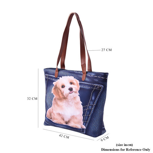 Adorable Dog in Jeans Pocket Print Tote Bag in Blue (42x9x32cm)