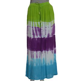 One Time Deal- Multi Dipped Tie-Dye Palazzo Trousers (Size 100x76 Cm) - Green