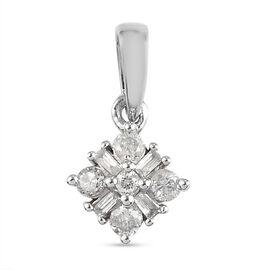 9K White Gold SGL Certified Diamond ((I3/GH) Pendant 0.19 Ct.