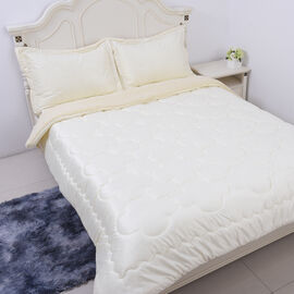 Serenity Night - 4 Piece Sherpa Comforter Set - Ivory Comforter (220x225cm), Fitted Sheet (140x190+3