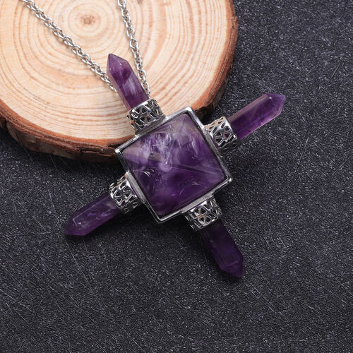 Amethyst Necklace (Size 20) in Stainless Steel 65.00 Ct