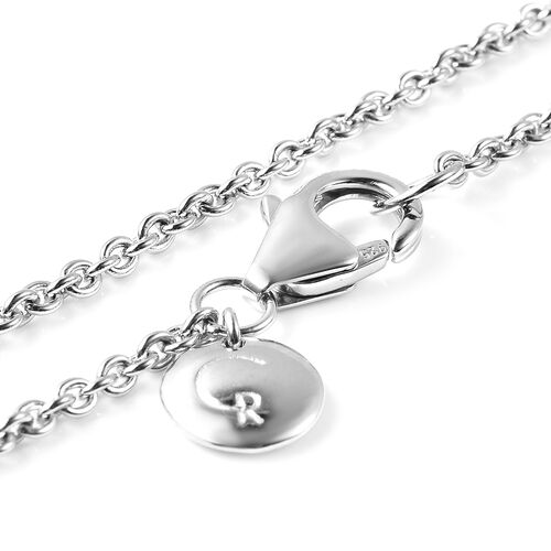 RACHEL GALLEY Rhodium Overlay Sterling Silver Sandblast Texture Twist Circle Design Pendant with Chain (Size 30), Silver wt. 14.06 Gms