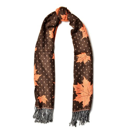 Chocolate with Orange Colour Maple Leaf Pattern Scarf with Long Tassels (Size 170x65 Cm)