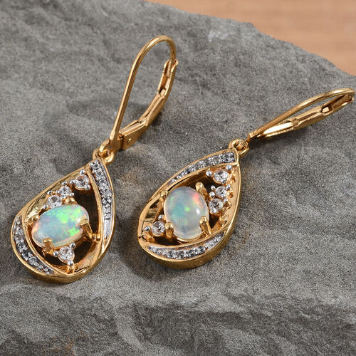Ethiopian Welo Opal (Ovl), Natural Cambodian Zircon Lever Back Earrings in 14K Gold Overlay Sterling Silver 1.25 Ct.