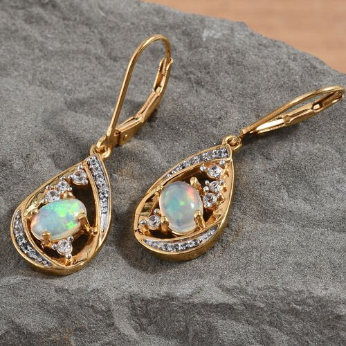 Ethiopian Welo Opal (Ovl), Natural Cambodian Zircon Lever Back Earrings in 14K Gold Overlay Sterling Silver 1.250 Ct, Silver wt 5.45 Gms