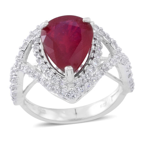 African Ruby (Pear 6.70 Ct), White Zircon Ring in Rhodium Plated Sterling Silver 8.000 Ct.