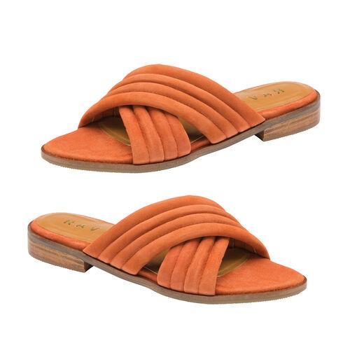 Ravel Sarina Suede Mule Sandals (Size 3) - Rust