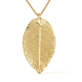 Rose Leaf Pendant in Yellow Gold Tone