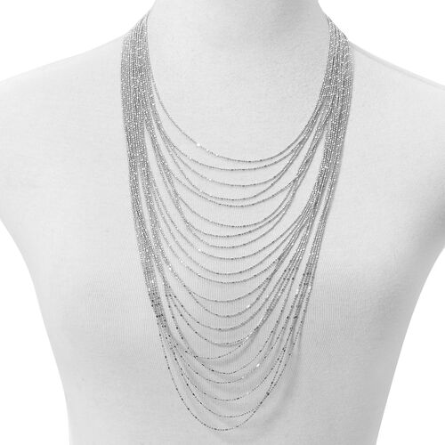 Multi Row Waterfall Necklace (Size 18 with 4 inch Extender) in Silver Tone