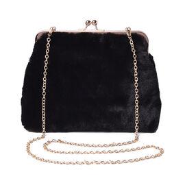 Black Faux Fur Clutch Closure Crossbody Bag (Size: 23x10x18cm) with Chain Shoulder Strap (L: 120cm)