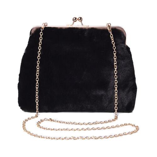 Solid Black Faux Fur Clutch Closure Crossbody Bag (Size: 23x10x18cm) with Chain Shoulder Strap (L: 1