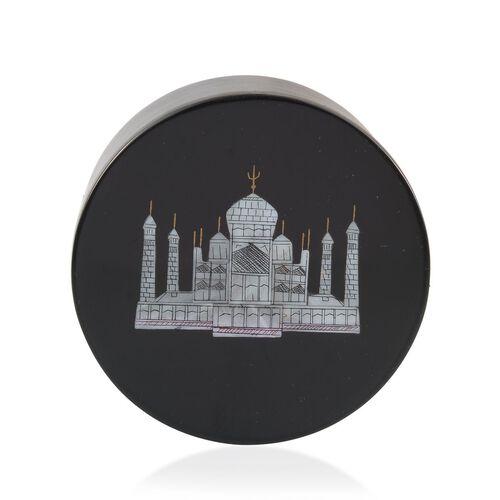 Soapstone Black Square Box With Beautiful Taj Mahal (Size 4x4)