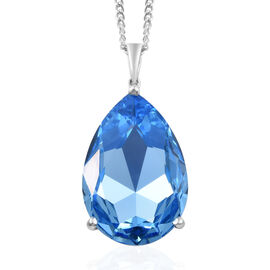 J Francis - Crystal from Swarovski Aquamarine Colour Crystal (Pear 30x20 mm) Pendant With Chain (Size 30) in Platinum Overlay Sterling Silver, Silver wt 10.00 Gms.