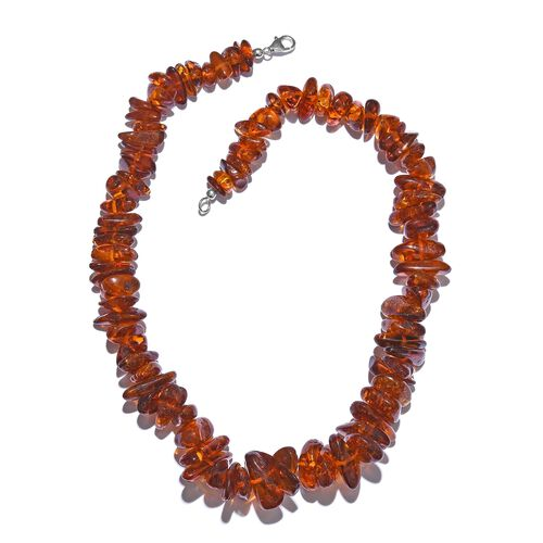 Limited Edition - Tucson Collection Baltic Amber Necklace (Size 20) in Platinum Overlay Sterling Sil