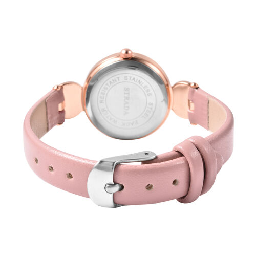 2 Piece Set - STRADA Japanese Movement Rose Quartz and White Austrian Crystal Studded Water Resistant Watch with Pink Strap and Pendant with Chain (Size 28) in Rose Gold Tone 16.00 Ct.