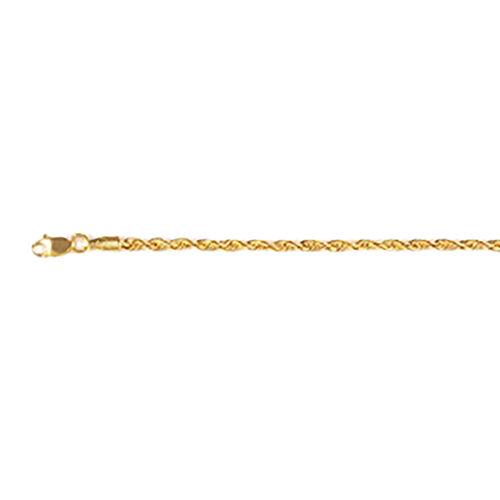9K Yellow Gold Diamond Cut Rope Bracelet (Size 7.5)