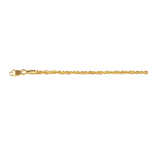 9K Yellow Gold Diamond Cut Rope Bracelet (Size 7)