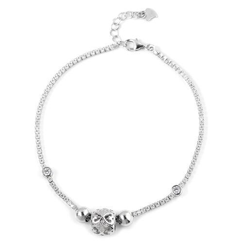 ELANZA Simulated Diamond (Rnd) Bracelet (Size 6.5) in Rhodium Overlay Sterling Silver, Silver wt 5.38 Gms.