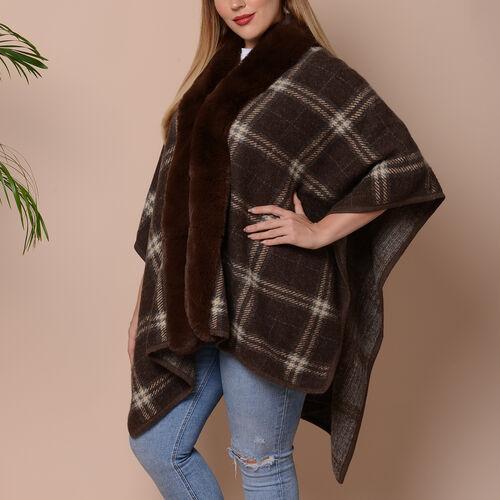 Checkered Print Kimono with Faux Fur Collar (Size 78x109cm) - Brown