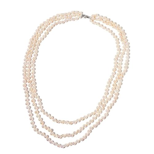 Designer Hand Knotted 9K White Gold AAA Japanese Akoya Pearl (4-5 mm) 3 Strand Necklace (Size 18)