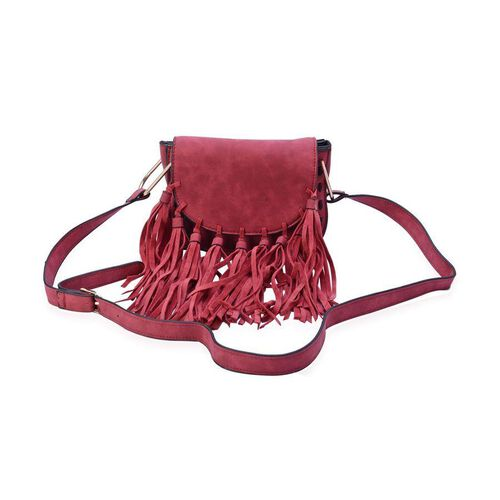 Burgundy Colour Crossbody Bag with Tassels and Shoulder Strap (Size 19x15.5x10 Cm)