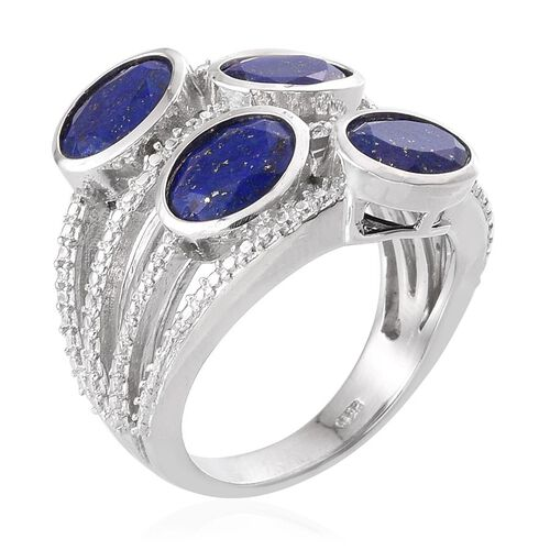 Lapis Lazuli (Ovl), Diamond Ring in Platinum Overlay Sterling Silver 4.510 Ct.