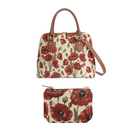 Signare Tapestry - Poppy Print Shoulder Bag with Coin Pouch - Red