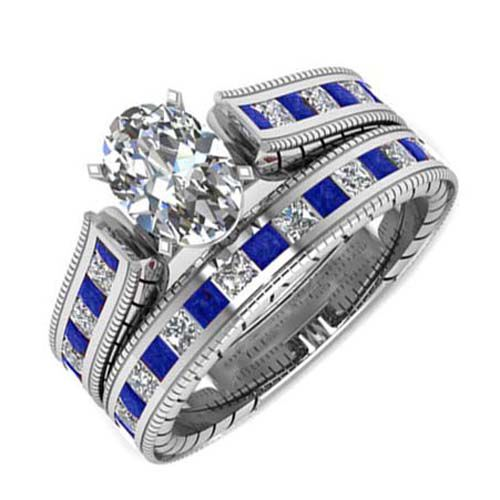 AAA Simulated Diamond (Ovl), Simulated Blue Sapphire Ring in Silver Bond