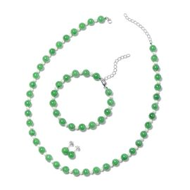 3 Piece Set - Green Jade (Rnd), Freshwater White Pearl Beads Necklace (Size 18 with 2 inch Extender)