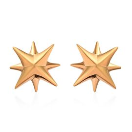 14K Gold Overlay Sterling Silver Star Stud Earrings (with Push Back)