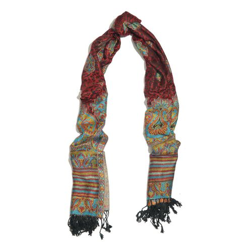 Maroon, Yellow and Multi Colour Scarf with Fringes at the Bottom (Size 180x70 Cm)