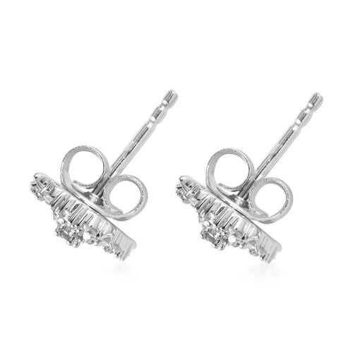 9K W Gold SGL certified Diamond (I3/G-H) Stud Earrings (with Push Back) 0.33 Ct.
