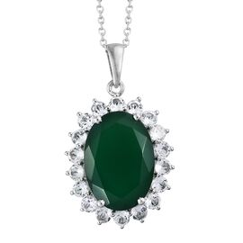 Verde Onyx (Ovl 18x13MM 9.15 Ct), White Topaz Pendant with Chain in Platinum Overlay Sterling Silver 11.500 Ct.