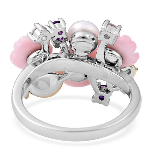 Jardin Collection - Pink Mother of Pearl, Freshwater Pearl, Amethyst and Natural White Cambodian Zircon Floral Ring in Enameled and Two Tone Sterling Silver, Silver wt 6.32