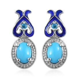 GP 1.61 Ct Sleeping Beauty Turquoise and Multi Gemstone Drop Earrings in Platinum Plated Silver