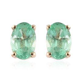 9K Yellow Gold AA Boyaca Colombian Emerald (Ovl) Stud Earrings (with Push Back) 0.850 Ct.