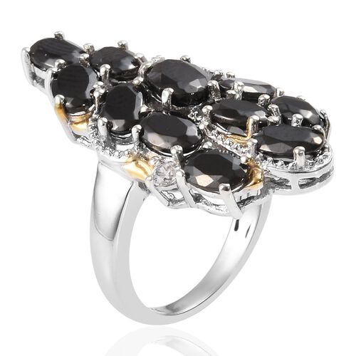 Elite Shungite (Ovl), Natural Cambodian Zircon Cluster Ring in Platinum and Yellow Gold Overlay Sterling Silver 3.50 Ct, Silver wt 5.10 Gms