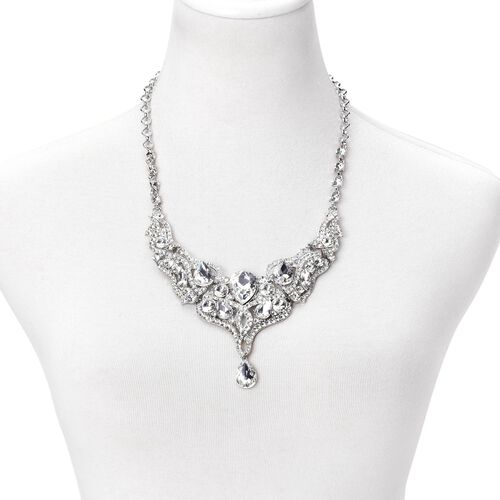 Simulated White Diamond and White Austrian Crystal BIB Necklace (Size 21 with 2 inch Extender) in Silver Tone