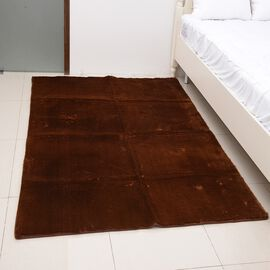 Premium Supersoft Low Pile Microfiber Padded Area Rug in Brown Colour with Anti Slip Backing (Size 1