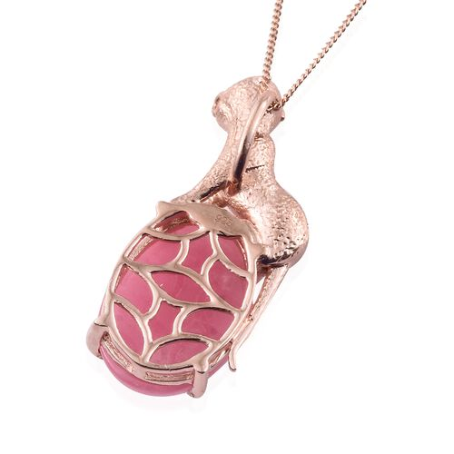Vintage Inspired -Pink Jade (Ovl) Wild Life Inspired Pendant with Chain in Rose Gold Overlay Sterling Silver 14.000 Ct.