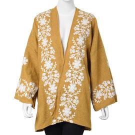 Tweed Floral Border Embroidered Kimono (Size 72x80cm) - Yellow and White