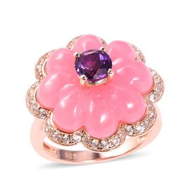 15.15 Ct Pink Jade and Multi Gemstone Floral Ring in Rose Gold Plated Silver 5.93 Grams