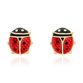 9K Yellow Gold Lady Bird Earrings (with Push Back) with Enameled