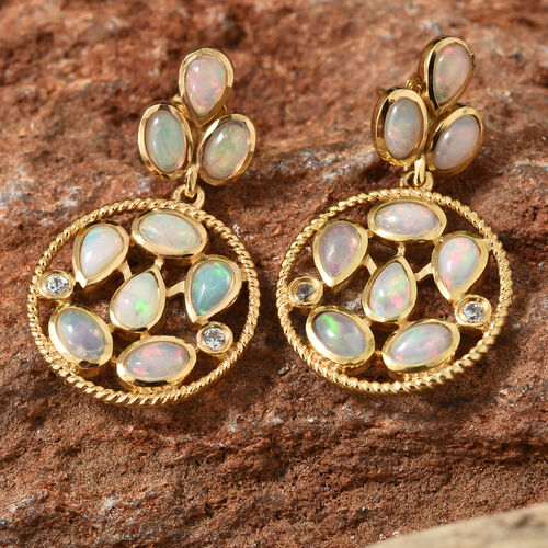 Ethiopian Welo Opal (Pear and Ovl), Natural Cambodian Zircon Earrings (with Push Back)  in 14K Gold Overlay Sterling Silver 2.750  Ct.