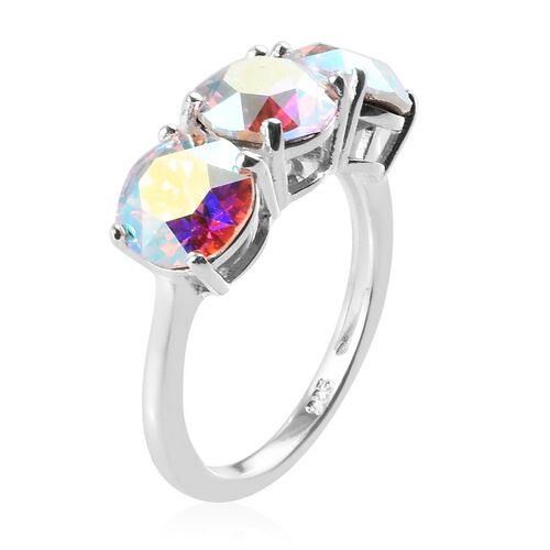 J Francis - Crystal from Swarovski AB Crystal Trilogy Ring in Sterling Silver